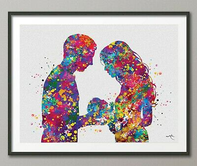 Father and Mother with Baby Watercolor Print New Mom Wedding Gift Parents-1597
