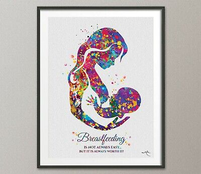 Breastfeeding Quote Mother Watercolor Print Mom Newborn Doula New Mum Baby-1585