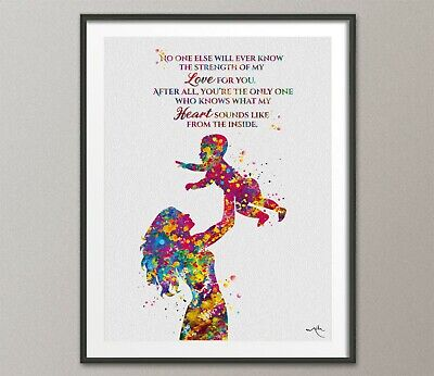 Mother and Child Quote Watercolor Print Mother and Baby Motherhood New Mum-1581