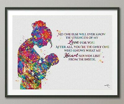 Motherhood Quote Watercolor Print Mother and Baby Midwifery Gift Nursery-1583