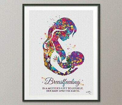 Breastfeeding Quote Mother Watercolor Print Mom Newborn Doula New Mum Baby-1586
