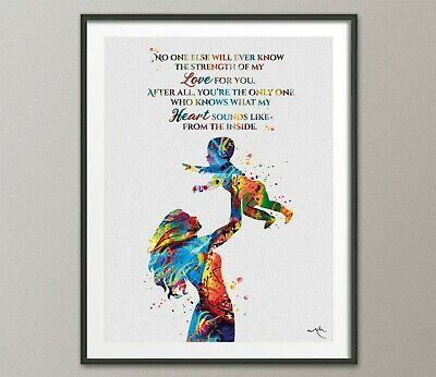 Mother and Child Quote Watercolor Print Mother and Baby Motherhood New Mum-1582