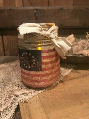 Primitive Flag Betsy Ross Grubby Cupboard Lantern Jar Colonial Americana July