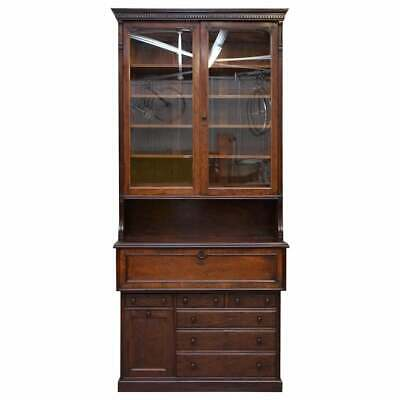 Circa 1840 Lambs Of Manchester Library Bookcase Secretaire Desk With Ice Bucket