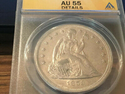 1859- O- Seated Liberty Dollar ANACS AU 55- Details.nice coin!!