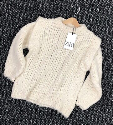 Zara Girls Ivory Cream Knitted Jumper Warm And Cosy Age 9-10 Years BNWT