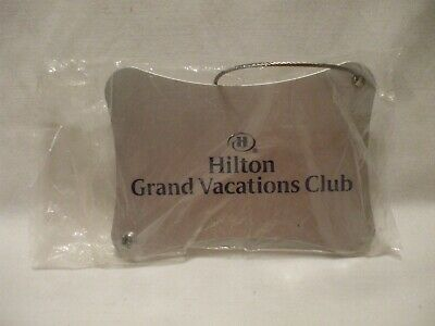 """Hilton Grand Vacations Club Silver Aluminum Luggage Tag 4"""" x 2"""" w Cable Ring New"""