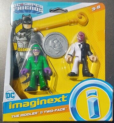 IMAGINEXT DC SUPER FRIENDS THE RIDDLER & TWO-FACE 2-PACK w/ HARVEY DENT COIN MIP