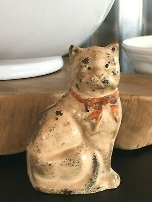 Vintage Antique Cast Iron Kitty Cat Piggy Bank White Red Bow