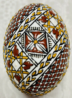 Handmade Pysanky on REAL Goose Egg decorated with colored wax UNIQUE