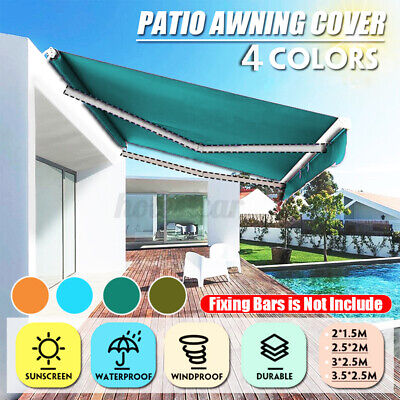 Manual Frill Awning Canopy Outdoor Patio Garden Sun Shade Shelter Top Fabric