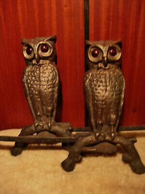 Vintage Owl Andirons Bronze Plated Amber Red Glowing Glass Eyes