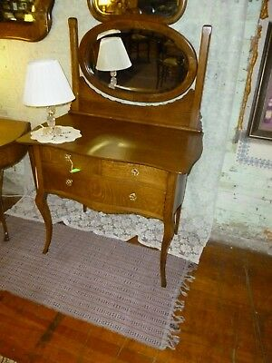 Antique Oak Vanity dresser w/ oval mirror beveled bedroom chest refinished