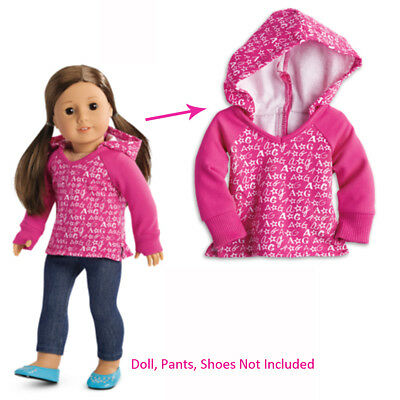 """American Girl TRULY ME V-NECK HOODIE 18"""" Dolls Shirt Sweater Clothes Logo NEW"""
