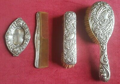 solid antique silver comb hair clothes brush small tray pin dish hallmarks