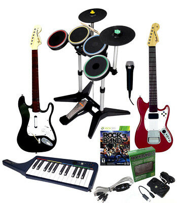 Xbox 360 Rock Band 3- Drums,Pro-Cymbals,Pro-Mustang & Strat,Keyboard,Mic,RB3Game