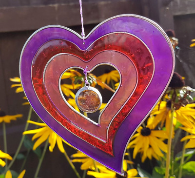 Purple red Heart sun catcher mobile stained glass effect garden decor gifts