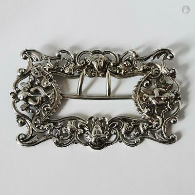 VICTORIAN STERLING SILVER BELT BUCKLE London 1893 William Hutton & Sons