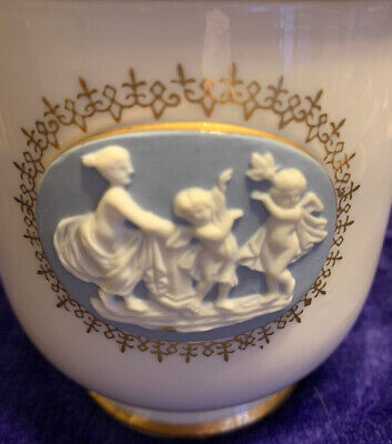 Wedgwood Style Biscuit Jar With Lid White Blue Gold Trim