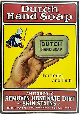 "Dutch Hand Soap Metal Advertising Tin Sign 16.75"" x 11.75"""