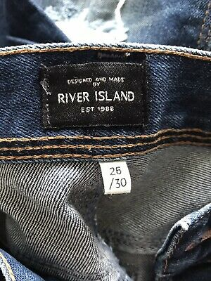 Boys River Island Button Up Blue Skinny Jeans 26/30