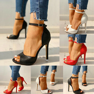 Women Ankle Strap Sandals Ladies Peep Toe High Heels Stiletto Party Summer Shoes