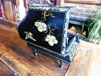 Japanese Lacquer Clockwork Musical jewellery Box Inlaid with Mother of Pearl