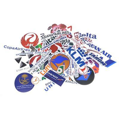 52 Unique Airline Stickers package For suitcases, bags, and a lot more