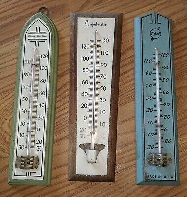 3 Antique American Thermometers Wood Wall Hanging Chaney TCA Taylor