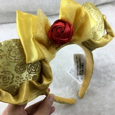 Disney Parks Red Flower Golden Bow Mickey Minnie Mouse Sequin Ears Headband