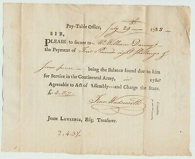 Revolutionary War Pay Order 1783 For Service in the Continental Army Document