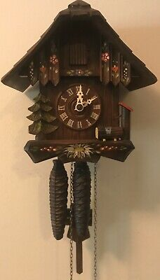 "Vintage Chalet Flowers Trees Cuckoo Clock Wood Pile Weight Driven 7.5"" x 7.5"""