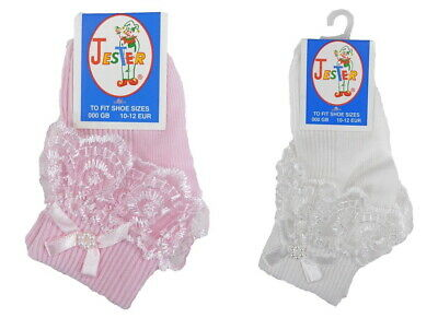 1 or 3 Pairs Baby or Girls Frilly Lace ankle Socks NB, 0-6m, 6-18m, 2-3yr, 4-6yr