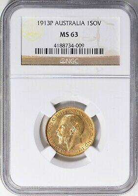 Australia 1913-P Gold Sovereign NGC MS-63