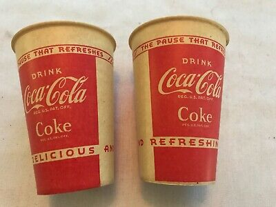2 Coca Cola Vintage Lily Waxed Drink Cups