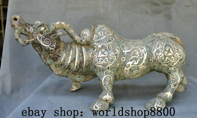 "18.4"" Old China Bronze Ware Silver Folk Feng Shui Animal Bull Oxen Cattle Statue"
