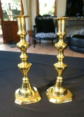 Beautiful Antique Victorian Brass Candlesticks Near Matching