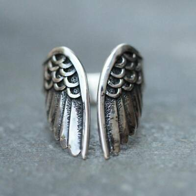 Vintage Silver Ring Black Angle Wings Open Ring Women&Men Punk Party Jewelry