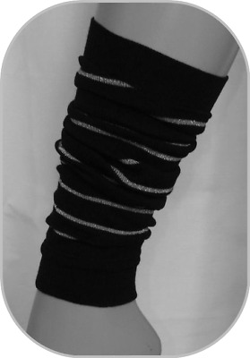 ADAMS Girl Black Leg Warmers with Silver sparkle Stripes One Size COTTON RICH