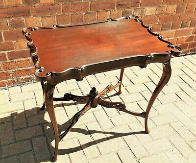 Very Nice Victorian Mahogany Side Table with Scroll Edge & Fretwork Stretcher