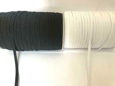 5 Meter length of Black Or White 6mm Elastic (8 Cord) Excellent Quality