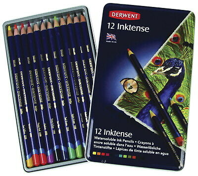 Derwent Inktense Colored Pencils with Tin, Assorted Colors, Set of 12