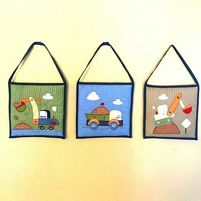 Construction Trucks Nursery Wall Hanging 3 Piece Quilted Baby Boy Room Art Circo