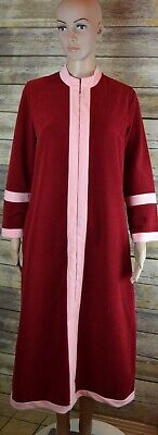 Vintage Vanity Fair womens Red 10 Velour Zip Up Front Maxi Bath Robe Housecoat