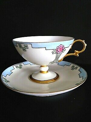 Vintage Art Deco Pedestal Tea Cup And Saucer Bone China