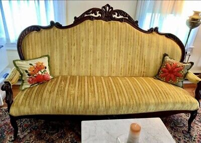 Antique Victorian Rosewood Sofa Couch Gold Gorgeous! Pick Up WV!