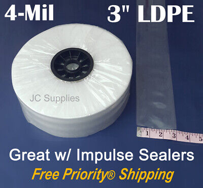 """3"""" Poly Tubing 750 Ft Roll 4-Mil Clear LDPE Plastic for Impulse Poly Heat Sealer"""