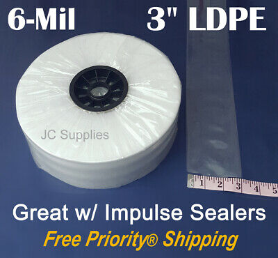 """3"""" Poly Tubing 500 Ft Roll 6-Mil Clear LDPE Plastic for Impulse Poly Heat Sealer"""