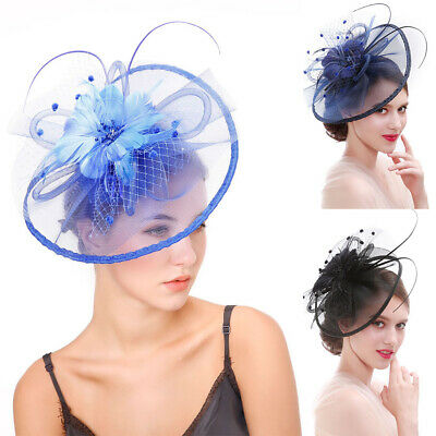 Lady Girl Fascinator Lace Feather Saucer Disc Hair Clip Wedding Occasion Proms