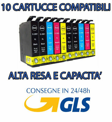 Kit 10 Cartucce Con Chip Nuovo Per Epson Stylus T0711 T0712 T0713 T0714 Stampa